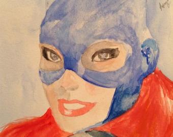 Batgirl - Barbara Gordon Watercolor Painting