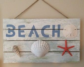 Beach Sign, Nautical Decor, Bathroom Decor, Coastal Decor