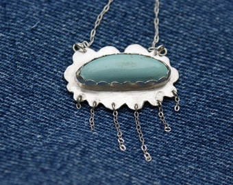 Sterling Turquoise Cloud Necklace