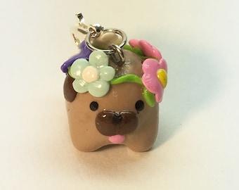 Polymer Clay Flower Crown Pug Charm