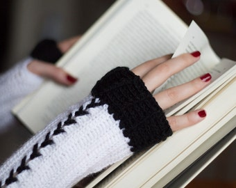 Arm Warmers, Mittens, Fingerless Gloves, Crocheted Gloves, Crochet Gloves, Hand Warmer, Corset Glove, Fingerless Gloves, Black and White