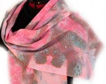 Silk Scarf - Coral Reef Scarf - Custom Designed Fabric - Coral Reef Photograph - Long Silk Scarf - Pink Silk Scarf