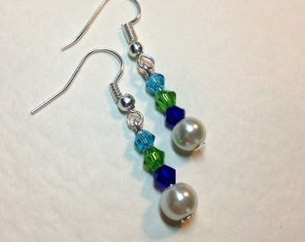 "Handmade ""River"" Crystal and Pearl Earrings"