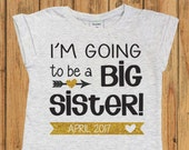 Pregnancy Announcement Shirt. I'm Going to be a Big Sister Shirt. Personalized Big Sister Shirt. Big Sister Announcement Shirt. Sister shirt