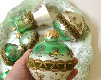 vintage glass christmas ornaments green ornate ornaments