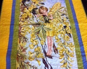 Yellow cot quilt - Fairy