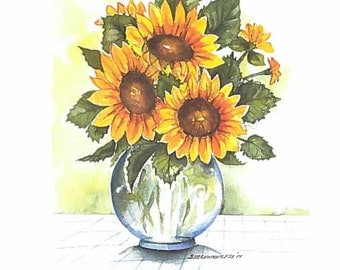 Sunflower bouquet greeting card. Print of an original watercolor. Free Shipping