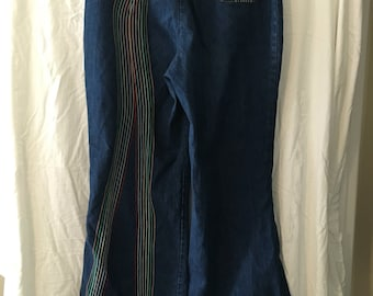 1960's Rare Ms. Lee, Lee Jeans, Rainbow Embroidered Bell Bottoms, Excellent Vintage Condition. 30X31.