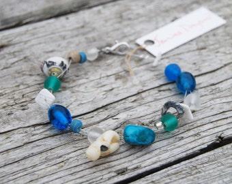 Blue Shell Bracelet Handmade in Dorset by Janine Drayson