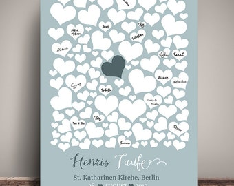 Leave a personalized POSTER, baptism, hearts, DIN A3