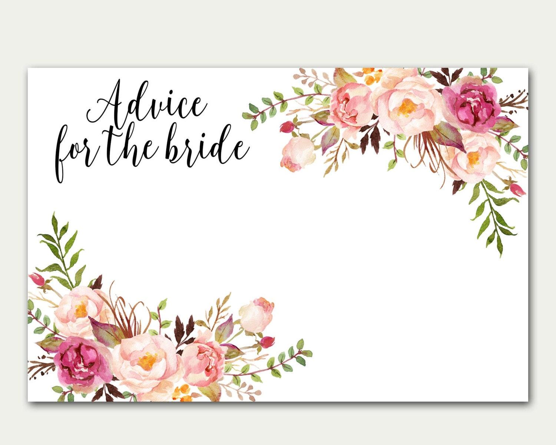 Advice For The Bride Bridal Shower Advice Card Floral Card
