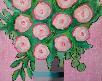 original floral abstract painting, modern contemporary impressionist, pink wall decor