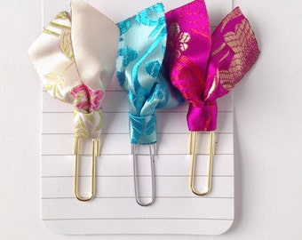 Set of 3 brocade paper clip bookmarks