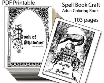 Book of Shadows, Printable Spell Book, Adult Coloring Book