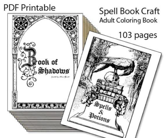 Día Del Libro Book Coloring Pages: Book Of Shadows Printable Spell Book Adult Coloring Book