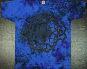 Vintage Nappy Threads Tribal 5 - Blue Tye Dye Short Sleeve Tee Shirt - Alternative Rocker Punk Cultural Tattoo Music Art - XL / Extra Large
