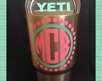 YETI Decal, Initial Monogram Sticker for YETI, lid, Ipad, Iphone, cellphone, car window, laptop