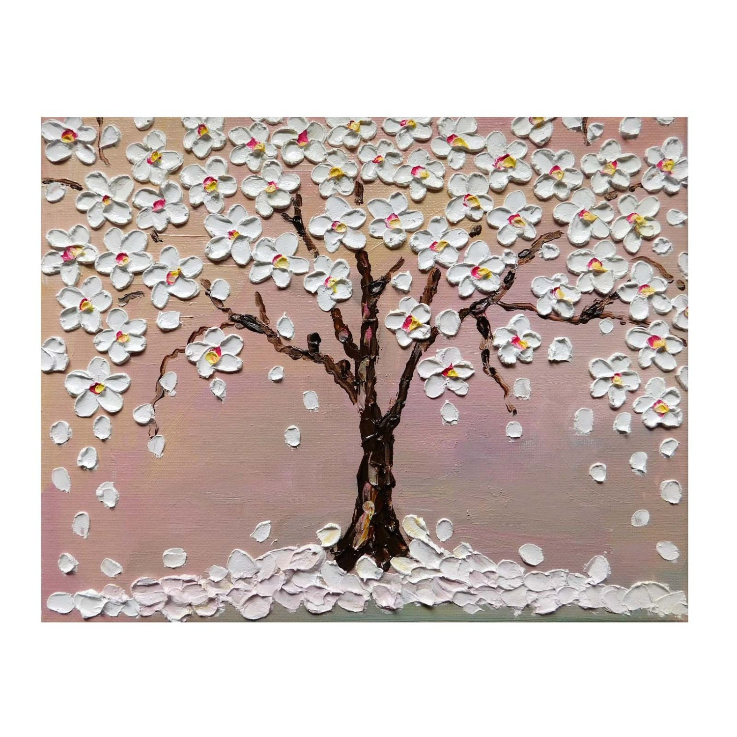 Cherry blossom tree original small oil impasto painting on for Canvas painting of cherry blossoms