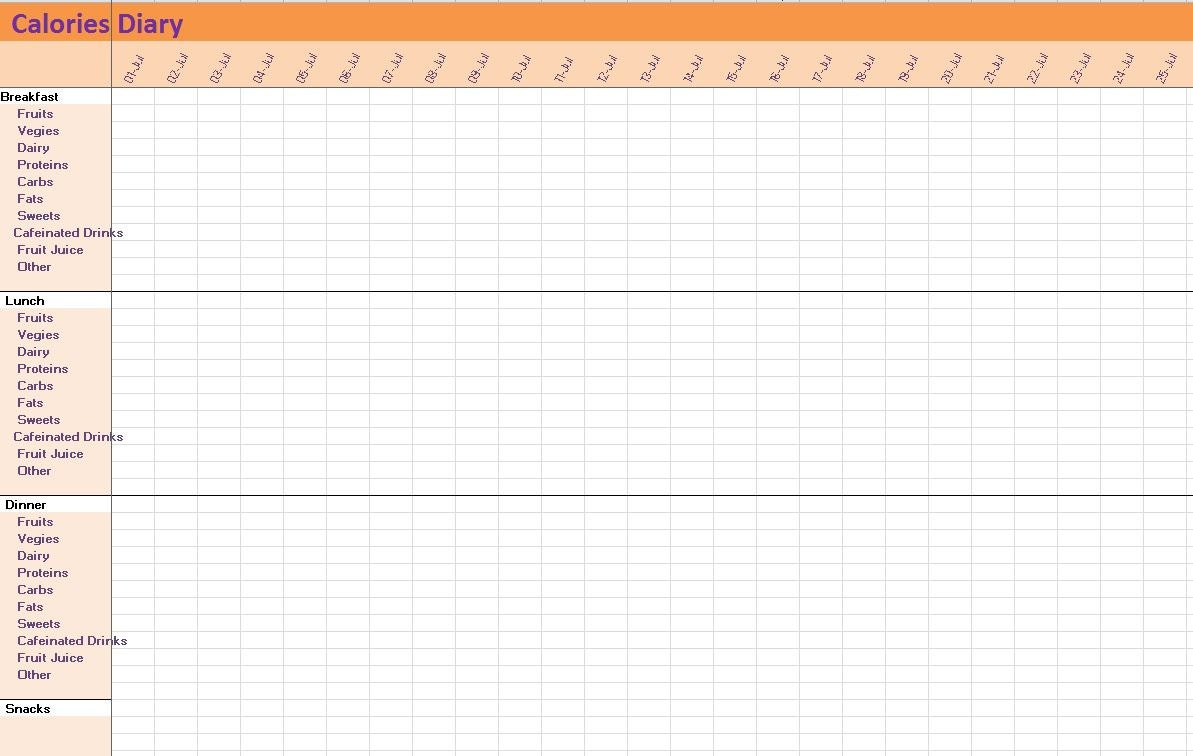 This Is A Digital File  Calorie Diary Template