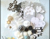Scrapbooking and card making embellishment kit, Invitations, Handmade, Black & White, Neutral - Winter 2016
