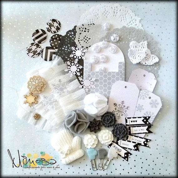Kit d'embellissements pour scrapbooking et carterie, Invitations, Fait main, Noir et blanc, Neutre - Hiver 2016