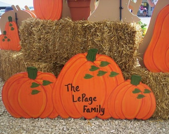 Triple 3 Pumpkins Fall Halloween Yard Lawn Art Ornament Decoration Personalized Free with Name or Greeting