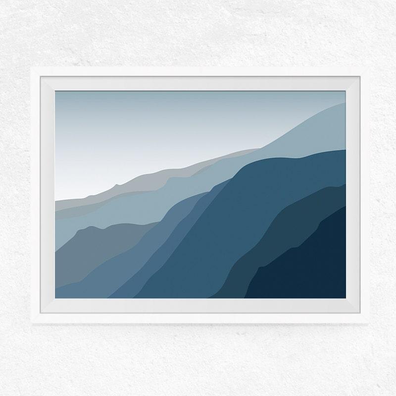 Minimalist landscape wall art shades of blue minimalist art for Minimal art landscape