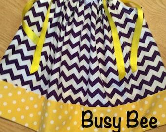 LSU Purple Chevron and Gold Polka Dot Pillowcase Dress