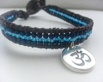 Yoga bracelet - beads and charm, meditation bracelet ohm, blue beaded bracelet, blue wristband, wrap bracelet, yoga jewelry, zen bracelet