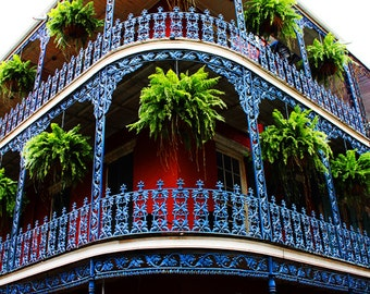 Balcons en Fer - New Orleans Corner Iron Balconies Plants Green Blue Red Black Wonder Beauty Bold Present Becoming Happy Happiness Wow