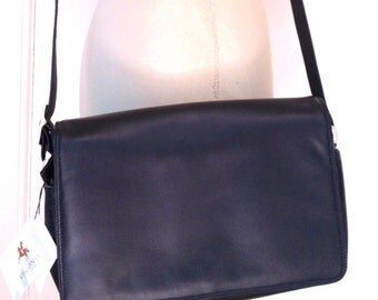 Dark Navy Blue Classic Leather Cross-body Bag by Visconti.