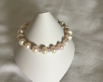 Pearl and amethyst bracelet.