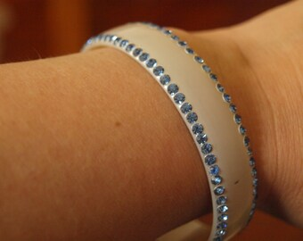 1920's blue rhinstone celluloid bracelet