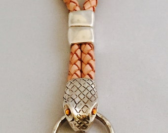 Snake Keychain with Braided Leather