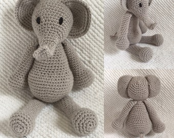 Edmond the Elephant - Handmade crochet stuffed animal