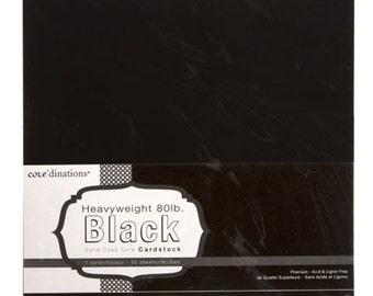 12 x 12 Black Card Stock - Core'dinations Card Stock - Heavy Weight Card Stock - Acid Free Card Stock - Black Card Stock - Black Paper 12x12