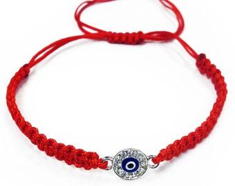 Evil Eye Macrame Bracelet (Red or Black) #2901