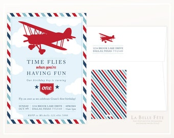 TIME FLIES When You're Having Fun Airplane birthday party invitation