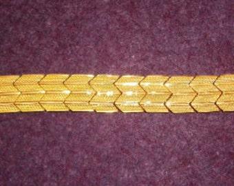 Bracelet Link Chevron Gold Vintage Art Deco