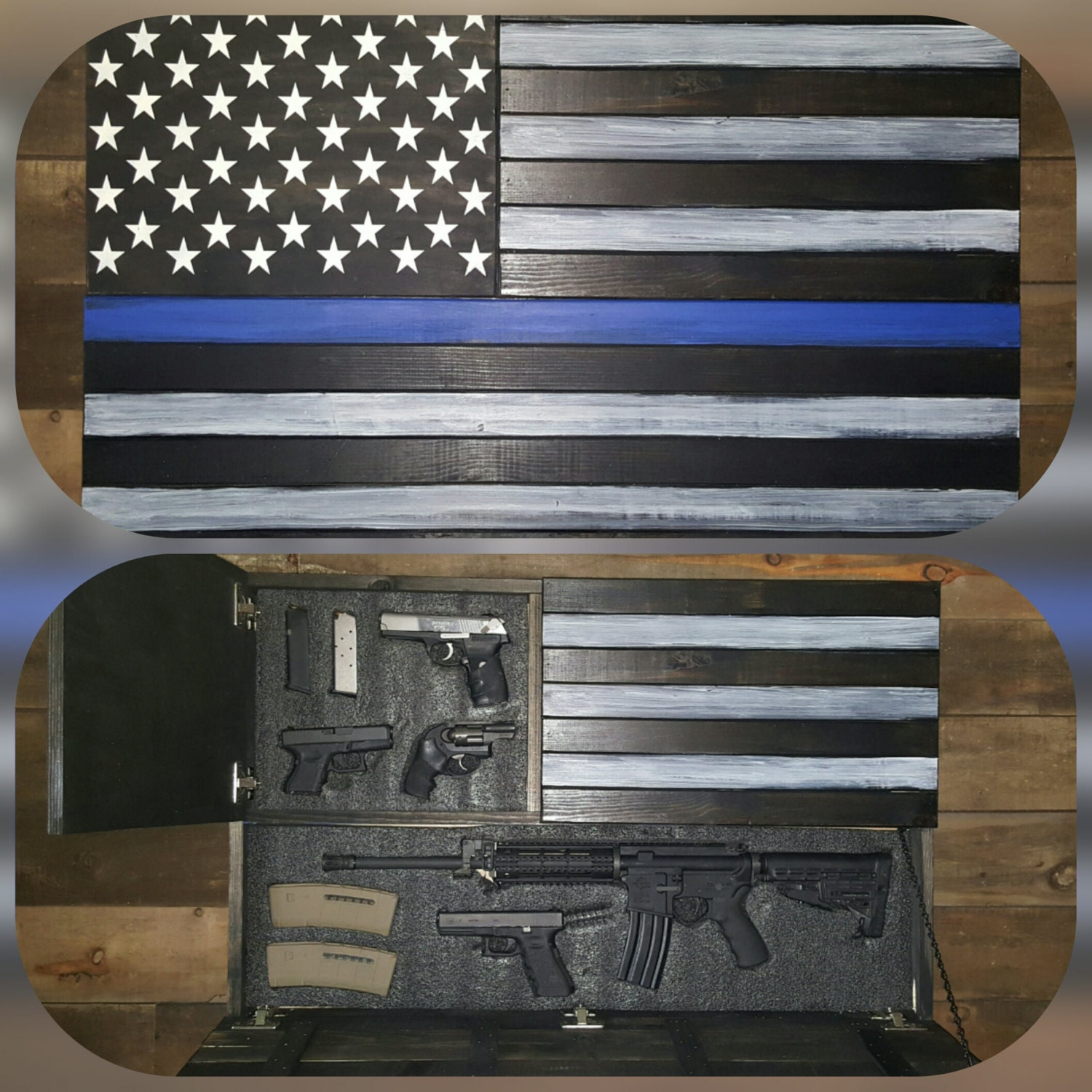 Large Thin Blue Line Concealed Weapon Flag Cabinet