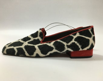 Valentina Russo Vintage Slip On Shoes Loafers Red Black White 4 37