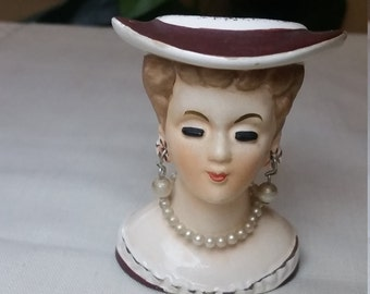 1960's Miniature Artmark Lady Head Vase with Faux Pearl Necklace and Earrings and Brown Dress with Artmark sticker. Unique Q-tip holder