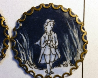 6 Motiv buttons, Baroque, Rococo, Empire, 1770 french. Replika, Blue, varnished. 30mm diameter