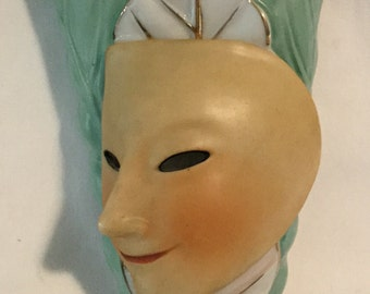 Vintage Extreme Retro Modern Theater Mask Wall Pocket Made in Japan