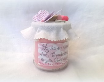 "Candle ""la vie en rose"" customizable"