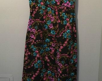 Vintage Nu-Mode 1970s Black Flowered Maxi Dress