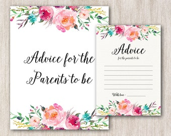Advice For Parents To Be, Advice For Parents Card, Advice For Parents To Be Sign, Advice For Parents, DIY Baby Shower Games, Printable Game