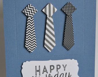 Handmade -Birthday Card - Die Cut - Ties - (HBCHB22)