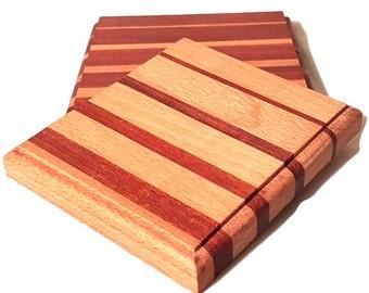 Striped Wood Trivets, Custom Wooden Trivets, Formal Tabletop Decor