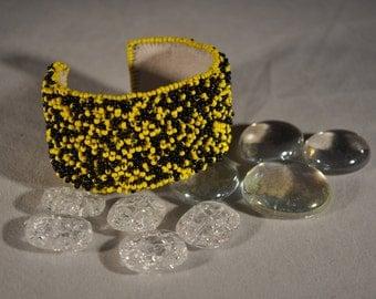 Black and Yellow Beaded Bracelet/Cuff